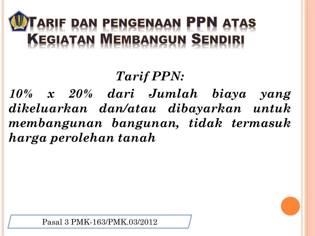 tarif PPN KMS